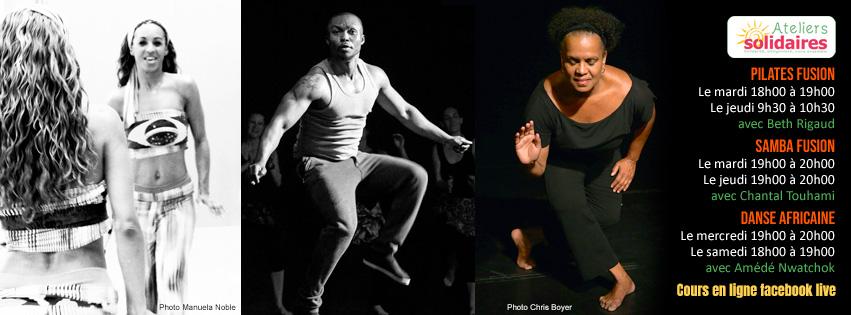 Cours de danse en ligne avec Chantal Touhami, Amédé Nwatchok et Beth Rigaud